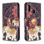 Pattern Printing Wallet Leather Stand Case for Samsung Galaxy A20e - Flower and Elephant