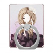 Cartoon Girl Finger Ring Grip Stand 360 Degree Rotation for iPhone Samsung Cellphone - Style B