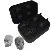 3D Skull Silicone Ice Cube Tray Mold Ice Cube Maker in Shapes for Whiskey Ice and Cocktails - Black