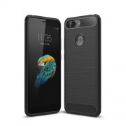 Carbon Fiber Texture Brushed TPU Phone Case for Lenovo S5 - Black