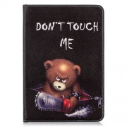 Tablet Case for iPad mini (2019) 7.9 inch Pattern Printing PU Leather Wallet Stand Shell - Brown Bear and Warning Words