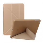 Multi-fold PU Leather Tablet Case Stand Cover for iPad mini (2019) 7.9 inch / mini 4 - Gold
