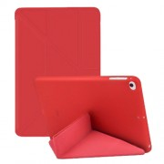 Multi-fold PU Leather Tablet Case Stand Cover for iPad mini (2019) 7.9 inch / mini 4 - Red