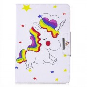 Pattern Printing Universal Leather Wallet Case for 10-inch Tablet PC - Unicorns and Star