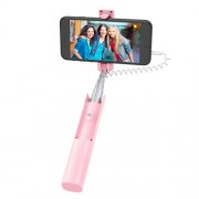 HOCO K9A Mystical 3.5mm Wire Control Telescopic Aluminum Alloy Selfie Stick - Pink