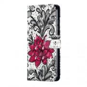 Δερμάτινη Θήκη Πορτοφόλι με Βάση Στήριξης για Xiaomi Mi 8 Lite / Mi 8 Youth (Mi 8X) - Κόκκινο Λουλούδι Λωτού