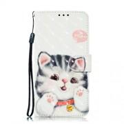 Δερμάτινη Θήκη Πορτοφόλι με Βάση Στήριξης για Xiaomi Mi 8 Lite / Mi 8 Youth (Mi 8X) - Χαριτωμένη Γατούλα
