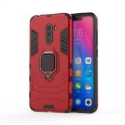 Υβριδική Θήκη Σιλικόνης TPU και Πλαστικού με Μεταλλικό Δαχτυλίδι που κάνει Βάση Στήριξης για Xiaomi Pocophone F1 - Κόκκινο