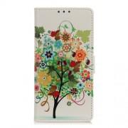 Δερμάτινη Θήκη Πορτοφόλι με Βάση Στήριξης για Xiaomi Mi 9 - Δέντρο με Πολύχρωμα Άνθη