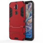 Υβριδική Θήκη Συνδυασμού Σιλικόνης TPU και Πλαστικού με Βάση Στήριξης για Nokia 8.1 / X7 - Κόκκινο