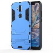 Υβριδική Θήκη Συνδυασμού Σιλικόνης TPU και Πλαστικού με Βάση Στήριξης για Nokia 8.1 / X7 - Μπλε
