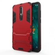 Υβριδική Θήκη Συνδυασμού Σιλικόνης TPU και Πλαστικού με Βάση Στήριξης για Nokia 5.1 Plus / X5 - Κόκκινο