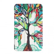 For Lenovo Tab4 8 Tri-fold Stand Flip Patterned Leather Shell - Colorful Tree Painting