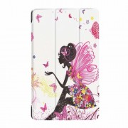 For Lenovo Tab 4 8 Plus Tri-fold Stand Leather Casing - Flowered Girl with Wings