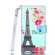 [Laser Carving] Patterned Leather Stand Cover for Huawei P Smart (2017) / Enjoy 7S - Eiffel Tower