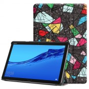 For Huawei Mediapad C5 10 / M5 Lite 10 Pattern Printing Leather Tri-fold Stand Tablet Protection Casing - Geometric Pattern