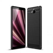 Θήκη Σιλικόνης TPU Carbon Fiber Brushed για Sony Xperia 10 Plus - Μαύρο