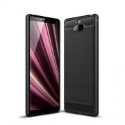 Θήκη Σιλικόνης TPU Carbon Fiber Brushed για Sony Xperia 10 - Μαύρο