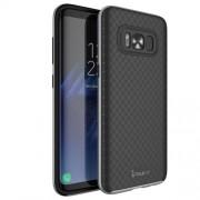 IPAKY Θήκη Σιλικόνης TPU με Σκληρό Bumper (Μεταλλική όψη) για Samsung Galaxy S8 G950 - Μαύρο/Γκρι