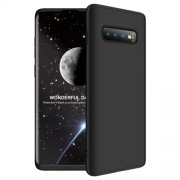 GKK 360 μοιρών Σκληρή Θήκη Ματ με Βελούδινη Υφή Πρόσοψης και Πλάτης για Samsung Galaxy S10 Plus - Μαύρο