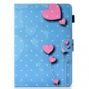 Universal Δερμάτινη Θήκη Βιβλίο για Tablets 7 ιντσών - Ροζ Καρδιές σε Γαλάζιο Φόντο