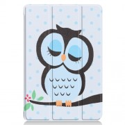 For Huawei Mediapad C5 10 / M5 Lite 10 Pattern Printing Leather Tri-fold Stand Tablet Casing Accessory - Owl