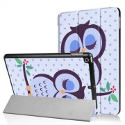 Pattern Printing Tri-fold Stand Leather Smart Shell Case for iPad 9.7 (2018) / 9.7 (2017) - Napping Owl
