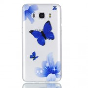 Rubberized Embossed Soft TPU Back Case for Samsung Galaxy J7 (2016) SM-J710 - Blue Butterfly and Flower