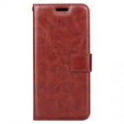 BTRCASE Crazy Horse PU Leather Wallet Case for Samsung Galaxy A8 Plus (2018) - Brown
