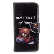 Patterned PU Leather Stand Flip Case for Samsung Galaxy A8+ (2018) - Angry Bear and Warning Words
