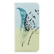 Patterned PU Leather Wallet Mobile Phone Shell for Samsung Galaxy A8 Plus (2018) - Quill Pen and Birds