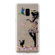 Pattern Printing IMD TPU Mobile Cover for Samsung Galaxy A8 Plus (2018) - Girl and Cat