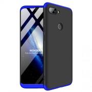 GKK 360 μοιρών Σκληρή Θήκη Ματ με Βελούδινη Υφή Πρόσοψης και Πλάτης για Xiaomi Mi 8 Lite / Mi 8 Youth (Mi 8X) - Μαύρο / Μπλε