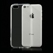 Clear PC Back TPU Frame Hybrid Case for iPhone 5c w/ Dust-proof Plug - Transparent