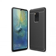Carbon Fiber Texture Brushed TPU Back Case for Huawei Mate 20 X - Black