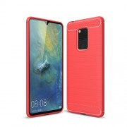 Carbon Fiber Texture Brushed TPU Mobile Shell for Huawei Mate 20 X - Red