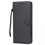Wallet Stand PU Leather Phone Case with Strap for Huawei Mate 20 X - Black
