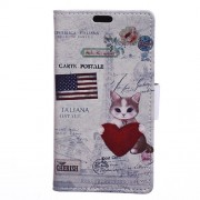 Patterned Wallet Leather Stand Cover for Samsung Galaxy J7 Prime 2 / J7 Prime (2018) - Cat Holding Heart and American Flag