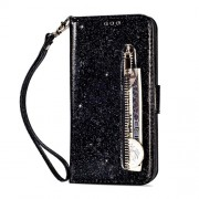 Glitter Powder Zippered Stand Leather Wallet Case [with Strap] for Huawei Mate 20 Lite - Black