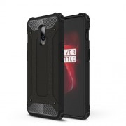 For OnePlus 6T Cool Armor Guard Plastic + TPU Hybrid Phone Case - Black