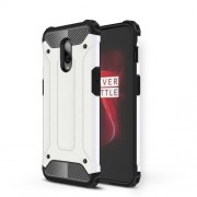 For OnePlus 6T Cool Armor Guard Plastic + TPU Hybrid Phone Cover - White