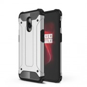 For OnePlus 6T Cool Armor Guard Plastic + TPU Hybrid Phone Shell - Silver