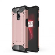 For OnePlus 6T Cool Armor Guard Plastic + TPU Hybrid Protector Shell - Rose Gold