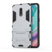 Cool Guard PC TPU Hybrid Cover with Kickstand for OnePlus 6T - Silver