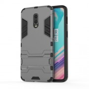 Cool Guard PC TPU Hybrid Shell with Kickstand for OnePlus 6T - Grey