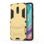 Cool Guard PC TPU Hybrid Phone Cover with Kickstand for OnePlus 6T - Gold