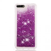 Dynamic Glitter Powder Sequins TPU Shockproof Phone Shell for Huawei Y6 (2018) / Y6 Prime (2018) / Honor 7A (without Fingerprint Sensor) - Purple