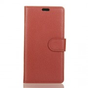 Litchi Texture Wallet Stand Leather Phone Casing for Alcatel 5 - Brown