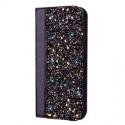 Crocodile Texture Glittery Sequins Splicing PU Leather Auto-absorbed Case for Xiaomi Redmi 6 Pro - Black