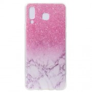 Pattern Printing Soft TPU Gel Phone Cover for Samsung Galaxy A9 (2018) - Pink Marble Pattern